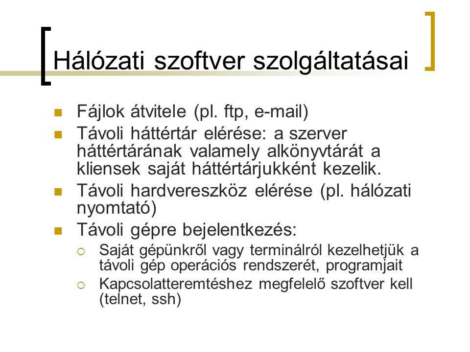 Hálózati szoftver szolgáltatásai