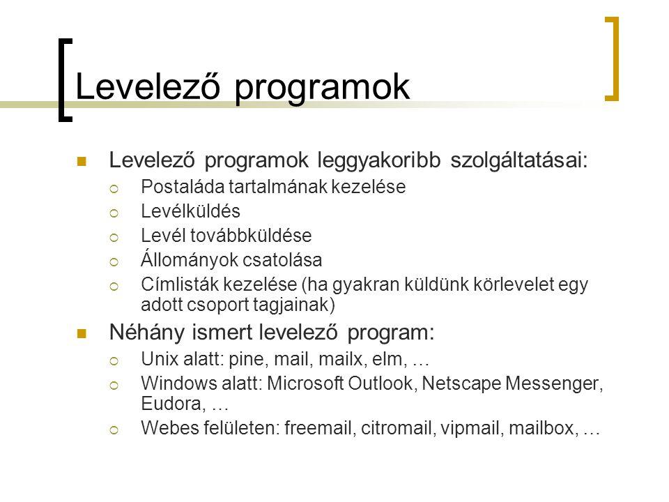 Levelező programok Levelező programok leggyakoribb szolgáltatásai: