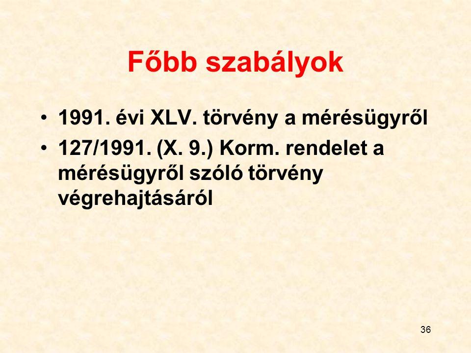 Főbb szabályok 1991. évi XLV. törvény a mérésügyről