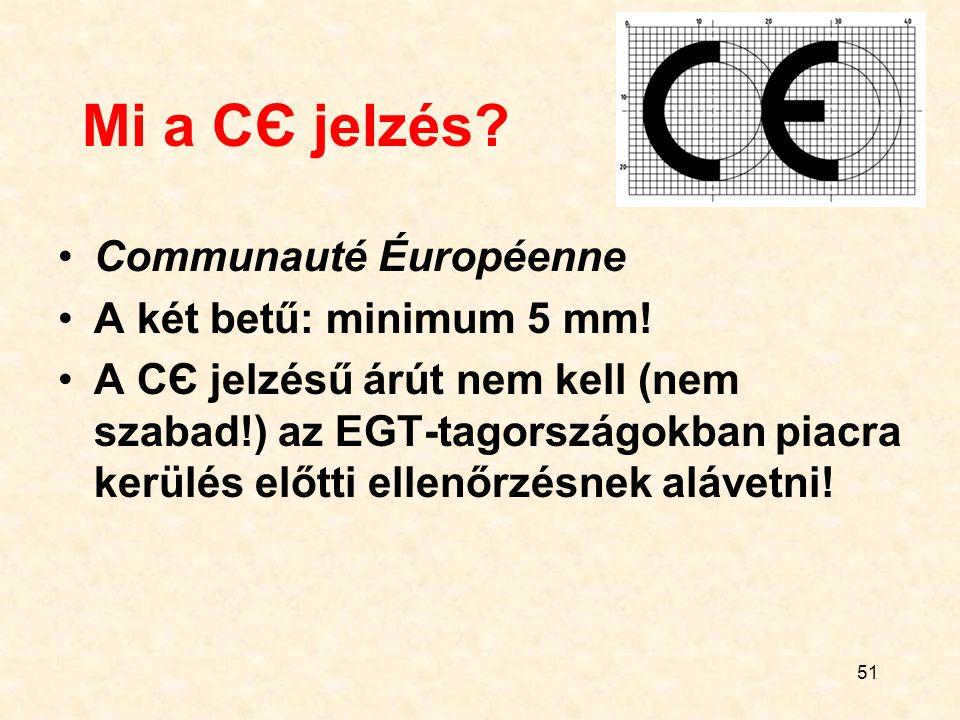 Mi a CЄ jelzés Communauté Éuropéenne A két betű: minimum 5 mm!