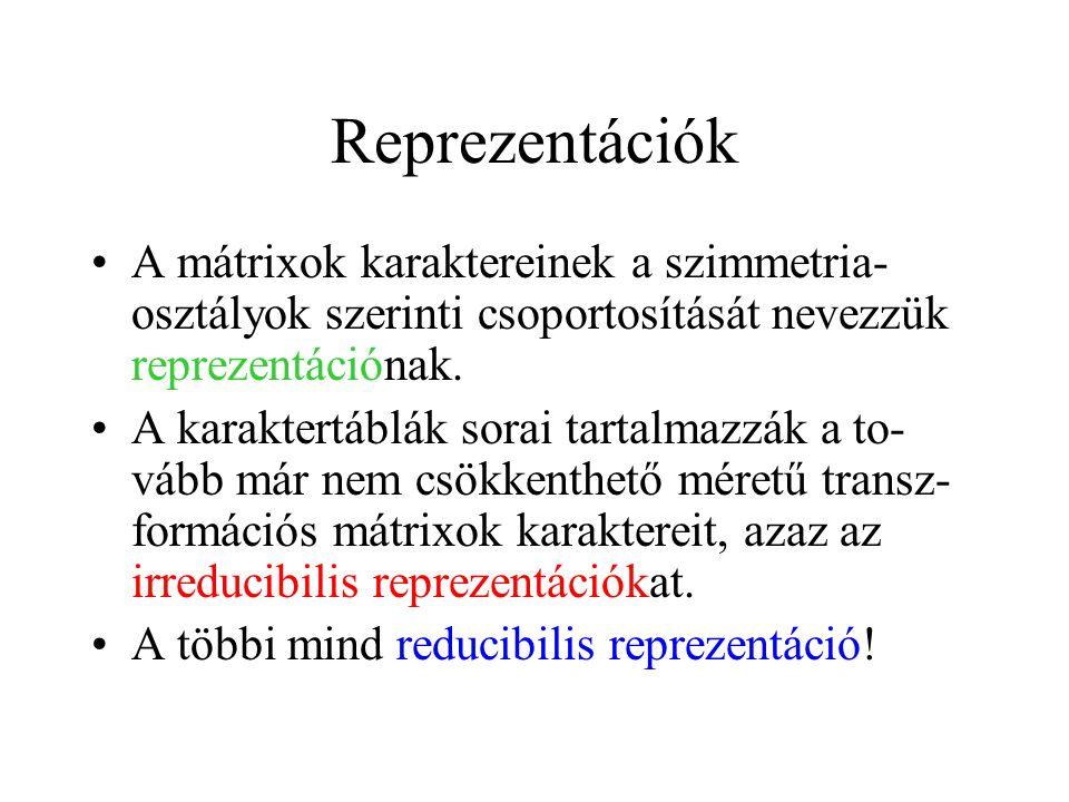 Reprezentációk A mátrixok karaktereinek a szimmetria-osztályok szerinti csoportosítását nevezzük reprezentációnak.