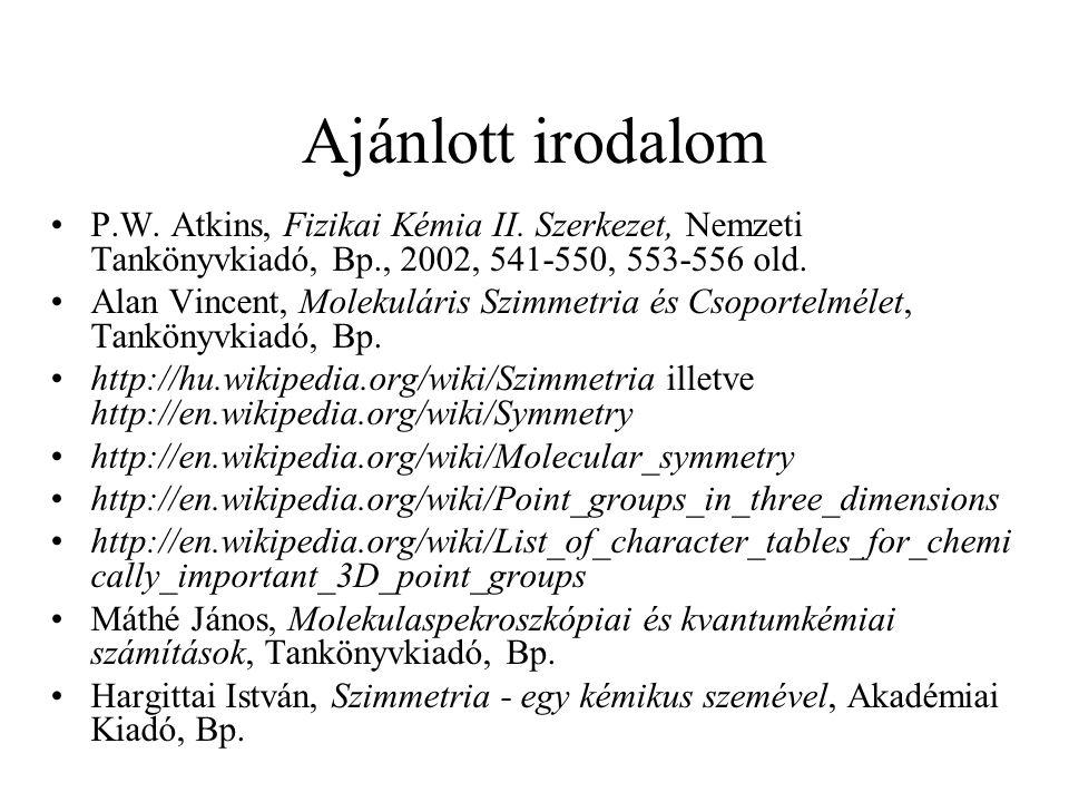Ajánlott irodalom P.W. Atkins, Fizikai Kémia II. Szerkezet, Nemzeti Tankönyvkiadó, Bp., 2002, 541-550, 553-556 old.