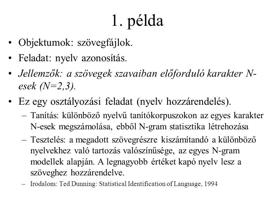 1. példa Objektumok: szövegfájlok. Feladat: nyelv azonosítás.