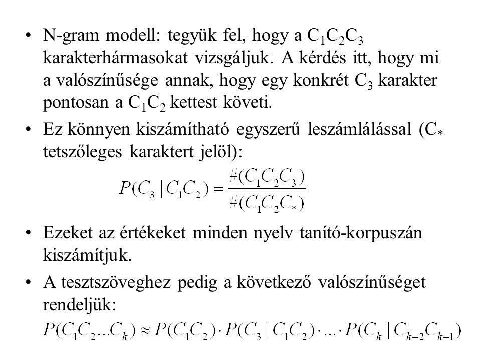 N-gram modell: tegyük fel, hogy a C1C2C3 karakterhármasokat vizsgáljuk
