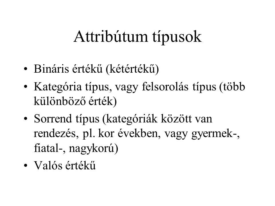 Attribútum típusok Bináris értékű (kétértékű)