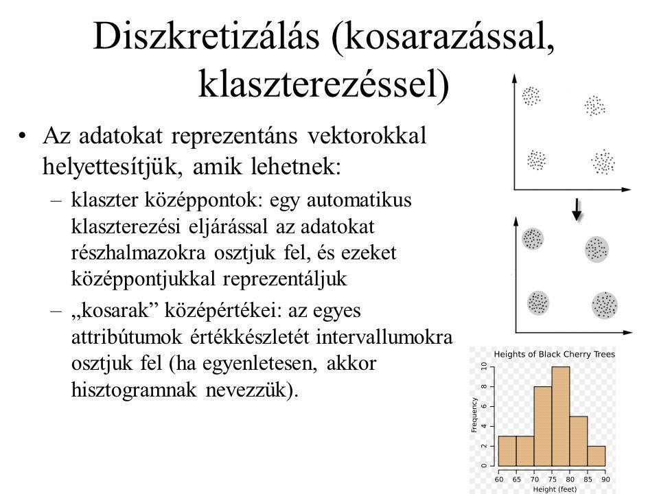 Diszkretizálás (kosarazással, klaszterezéssel)