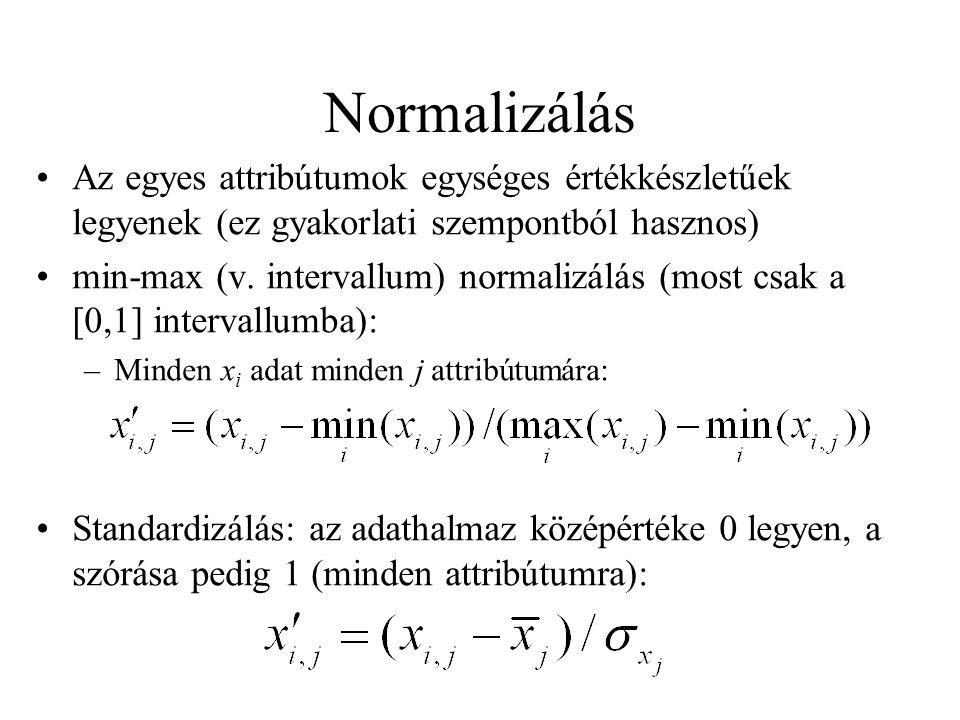 Normalizálás Az egyes attribútumok egységes értékkészletűek legyenek (ez gyakorlati szempontból hasznos)