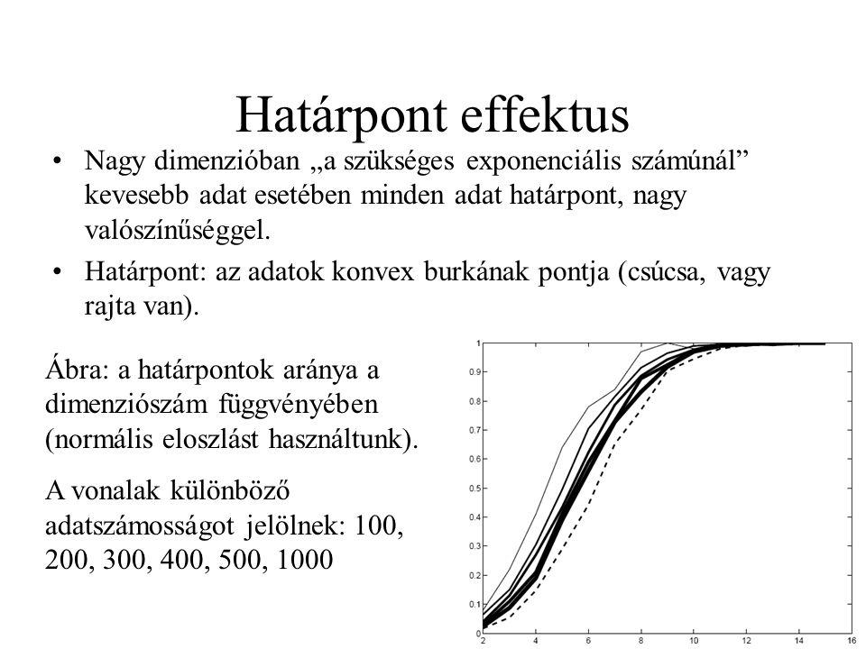 """Határpont effektus Nagy dimenzióban """"a szükséges exponenciális számúnál kevesebb adat esetében minden adat határpont, nagy valószínűséggel."""
