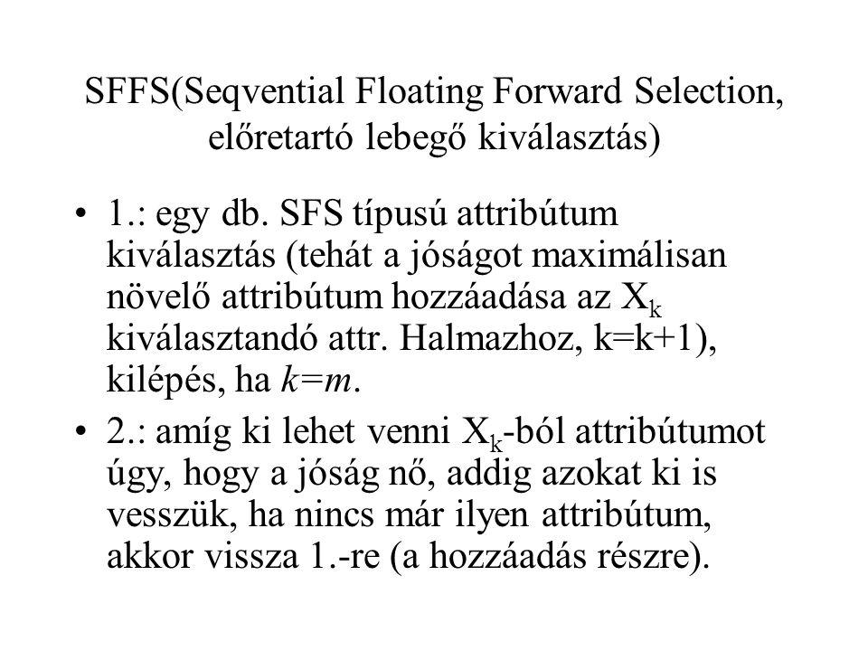 SFFS(Seqvential Floating Forward Selection, előretartó lebegő kiválasztás)