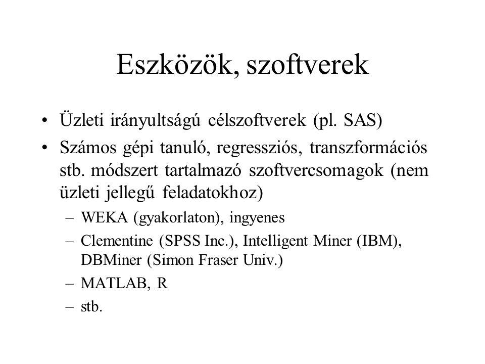 Eszközök, szoftverek Üzleti irányultságú célszoftverek (pl. SAS)