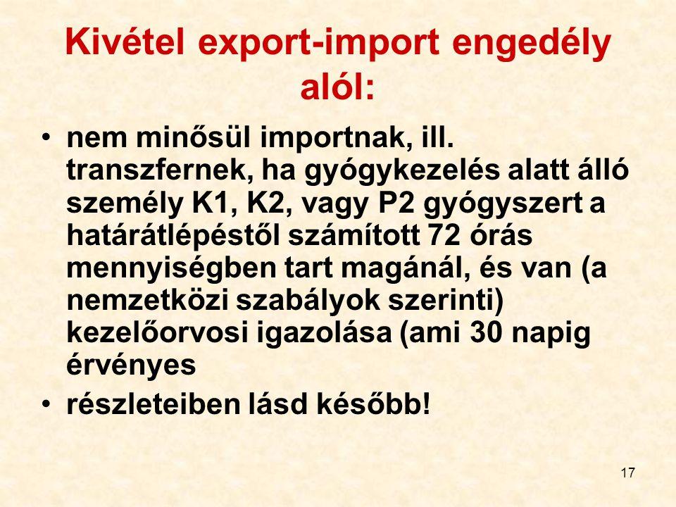 Kivétel export-import engedély alól: