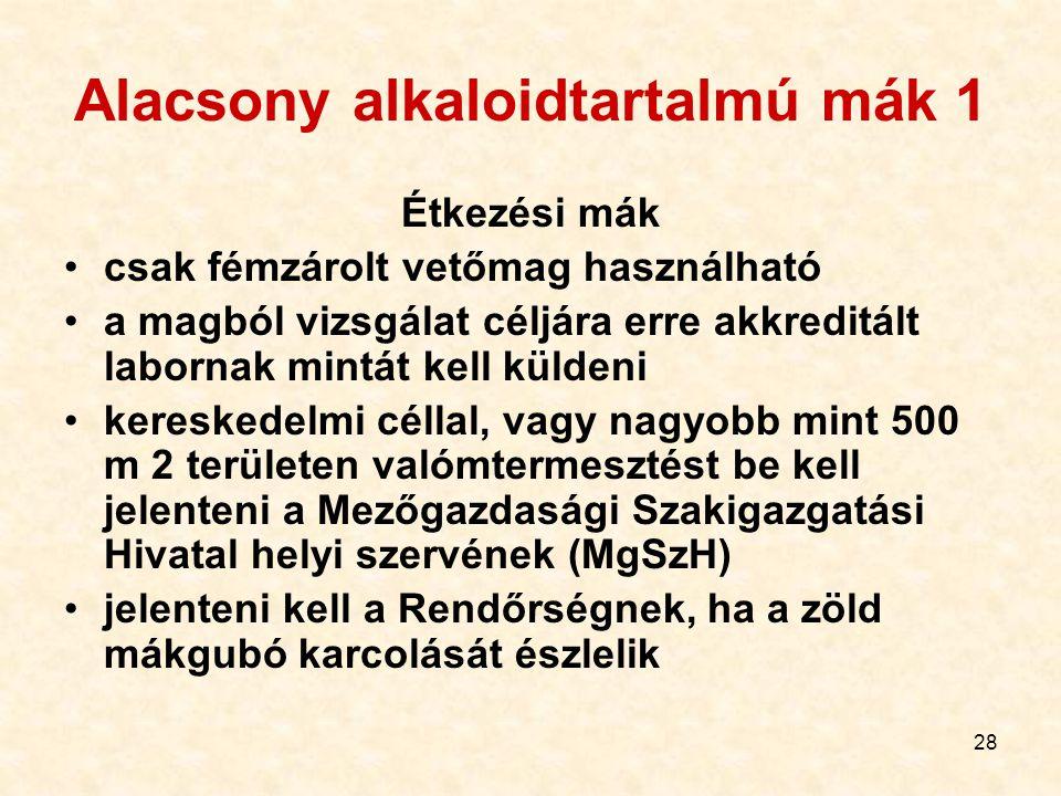 Alacsony alkaloidtartalmú mák 1