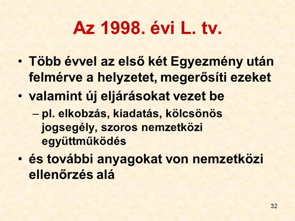 Az 1998. évi L. tv. Több évvel az első két Egyezmény után felmérve a helyzetet, megerősíti ezeket. valamint új eljárásokat vezet be.