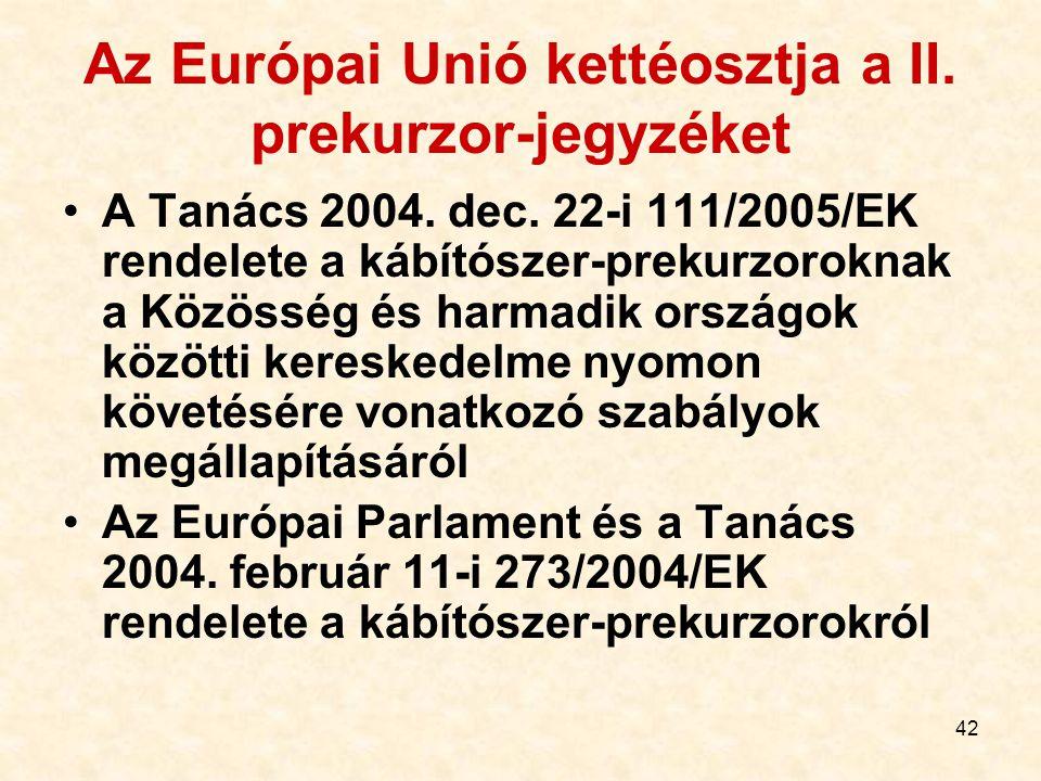 Az Európai Unió kettéosztja a II. prekurzor-jegyzéket