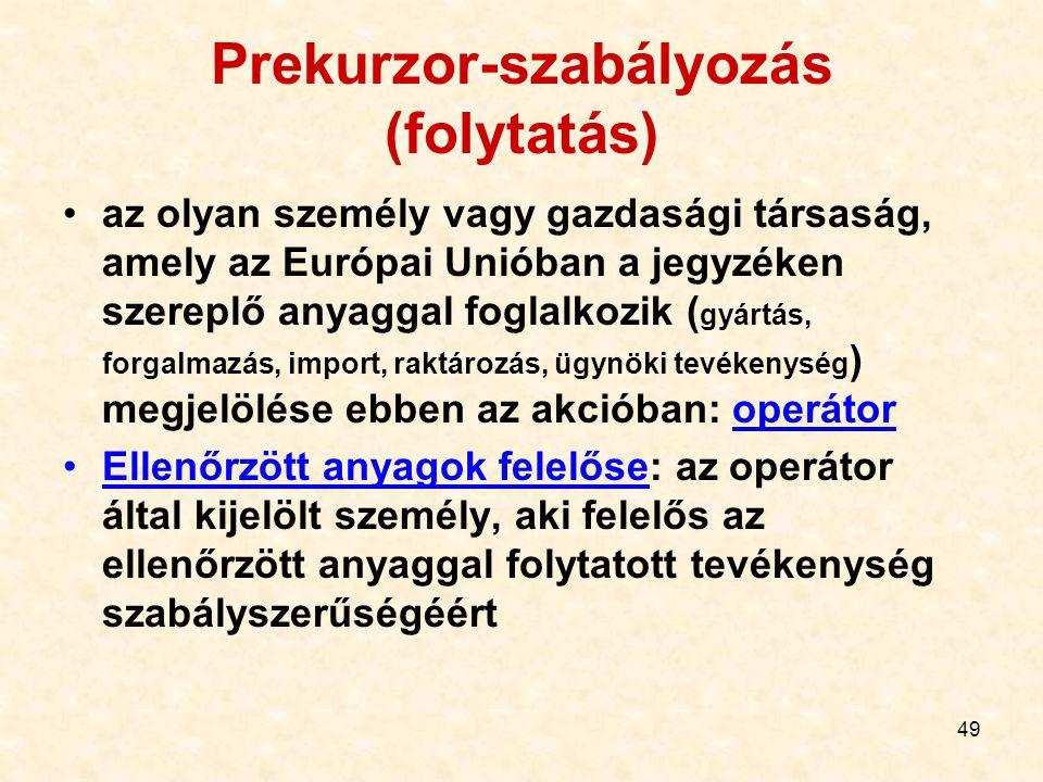 Prekurzor-szabályozás (folytatás)