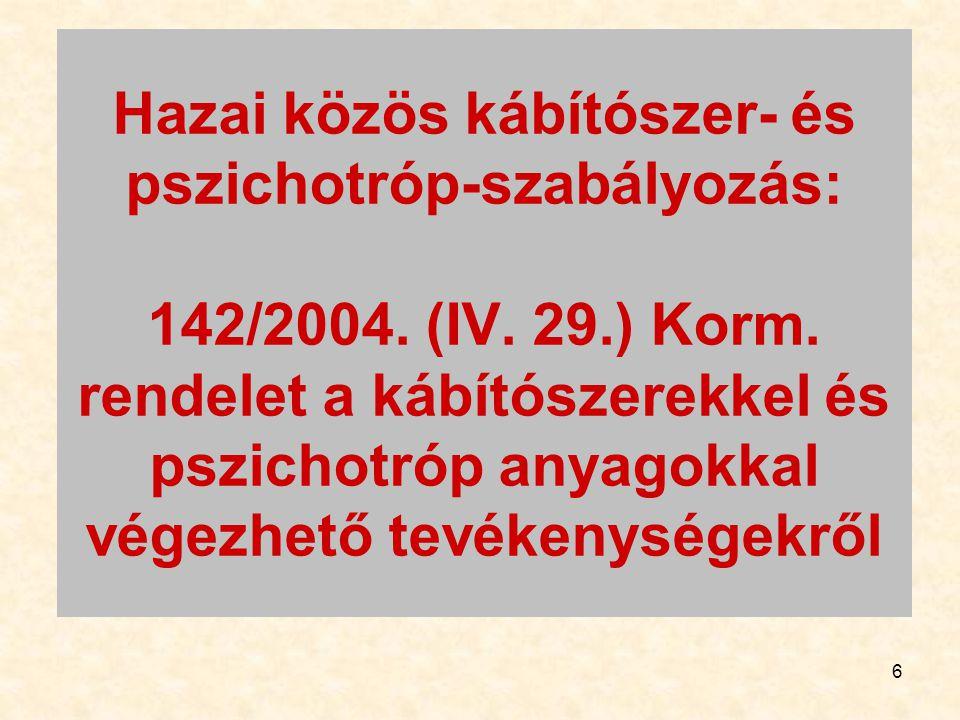 Hazai közös kábítószer- és pszichotróp-szabályozás: 142/2004. (IV. 29