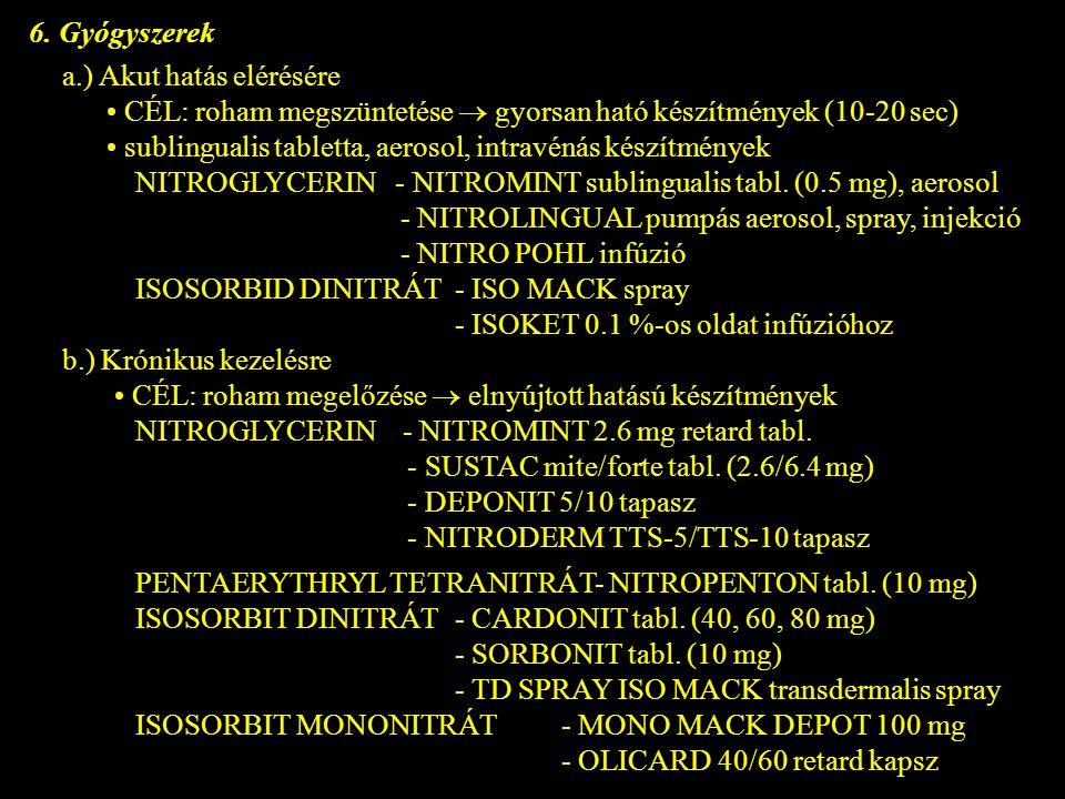 6. Gyógyszerek a.) Akut hatás elérésére. • CÉL: roham megszüntetése  gyorsan ható készítmények (10-20 sec)