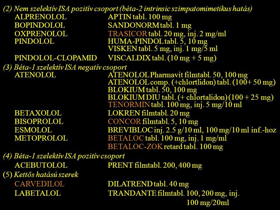 (2) Nem szelektív ISA pozitív csoport (béta-2 intrinsic szimpatomimetikus hatás)