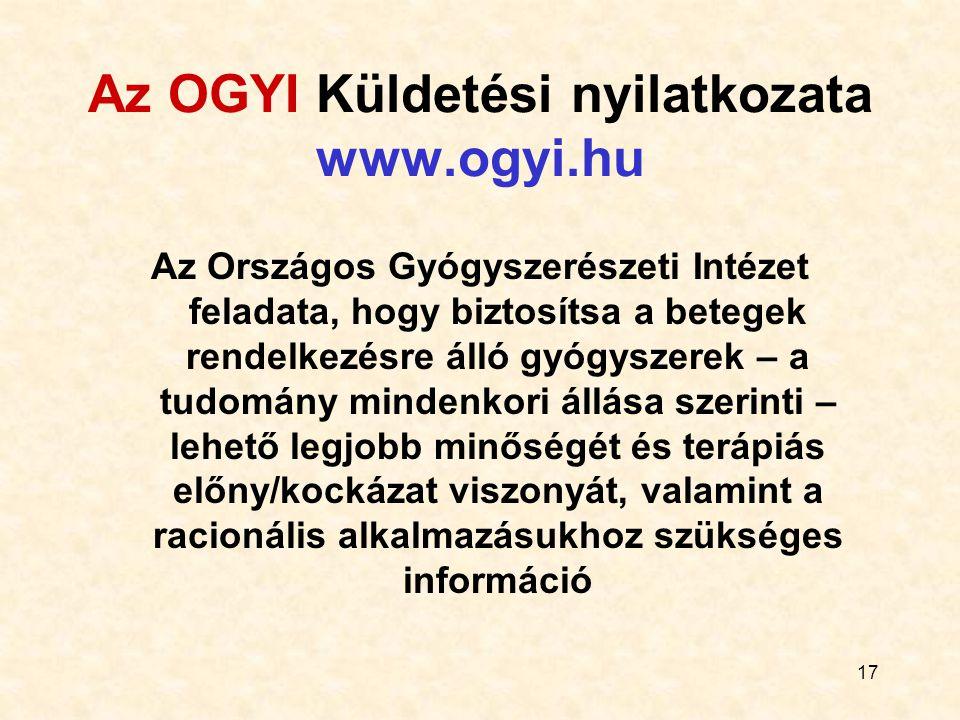 Az OGYI Küldetési nyilatkozata www.ogyi.hu