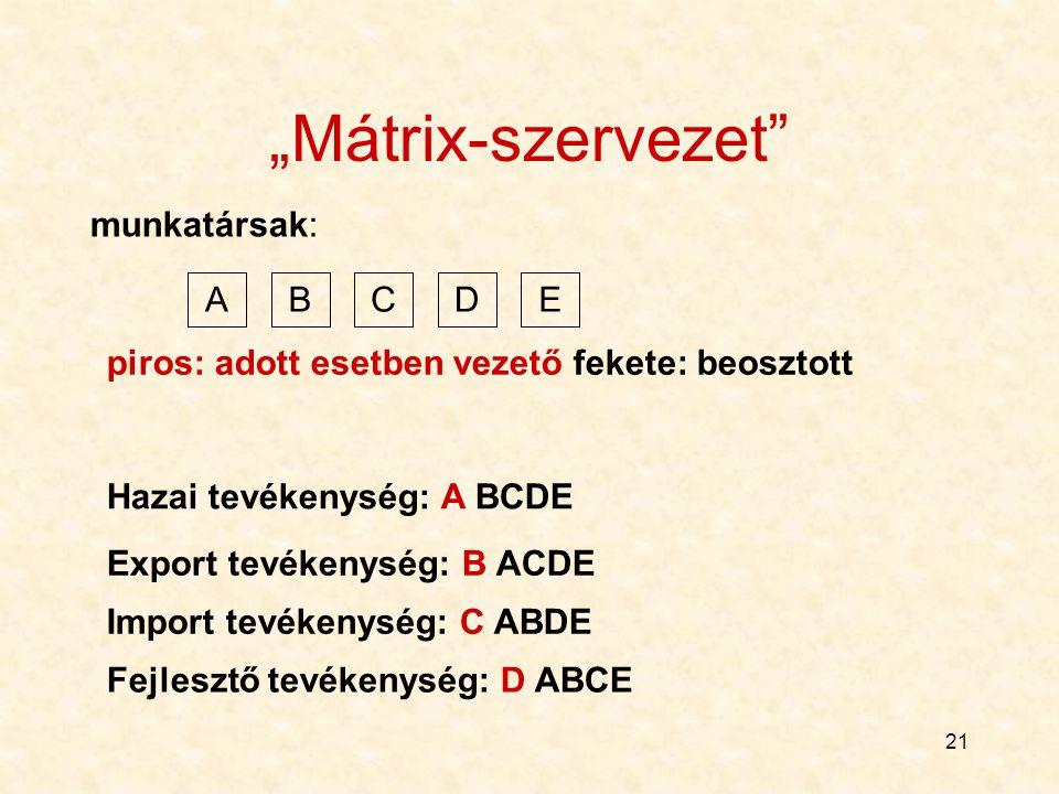 """""""Mátrix-szervezet munkatársak: A B C D E"""