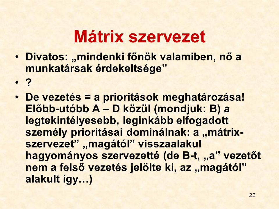 """Mátrix szervezet Divatos: """"mindenki főnök valamiben, nő a munkatársak érdekeltsége"""