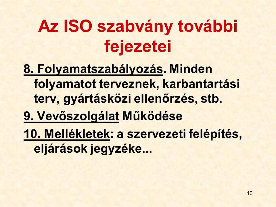 Az ISO szabvány további fejezetei