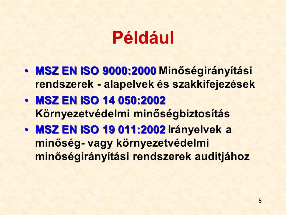 Például MSZ EN ISO 9000:2000 Minőségirányítási rendszerek - alapelvek és szakkifejezések. MSZ EN ISO 14 050:2002 Környezetvédelmi minőségbiztosítás.