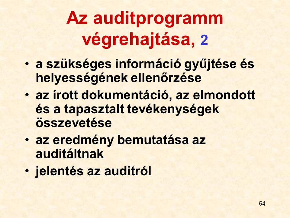 Az auditprogramm végrehajtása, 2
