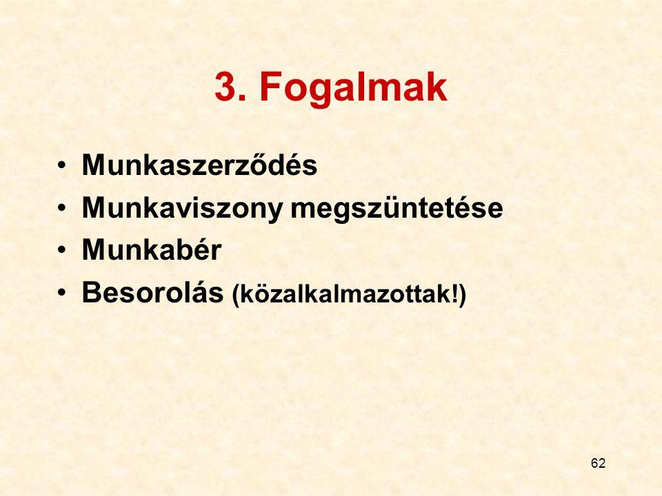 3. Fogalmak Munkaszerződés Munkaviszony megszüntetése Munkabér