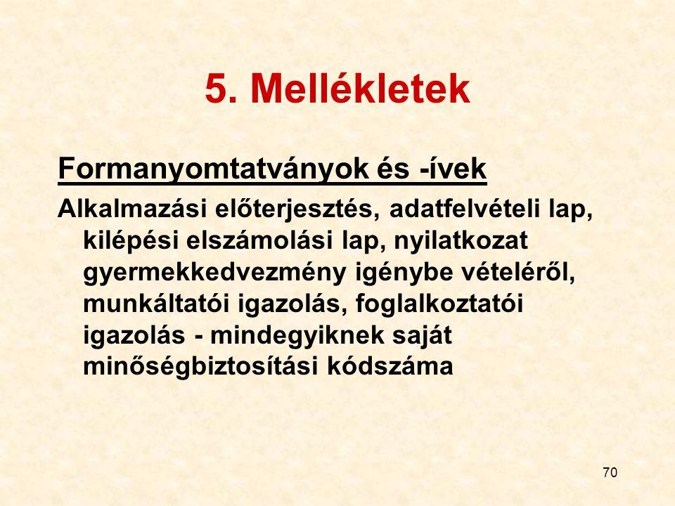 5. Mellékletek Formanyomtatványok és -ívek