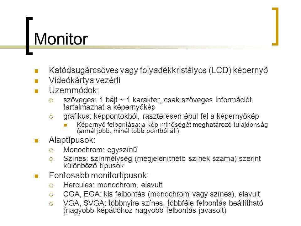 Monitor Katódsugárcsöves vagy folyadékkristályos (LCD) képernyő
