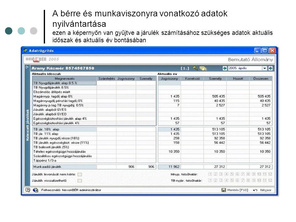 A bérre és munkaviszonyra vonatkozó adatok nyilvántartása ezen a képernyőn van gyűjtve a járulék számításához szükséges adatok aktuális időszak és aktuális év bontásában