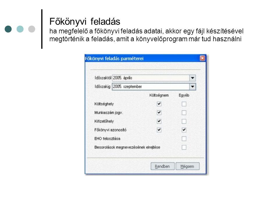 Főkönyvi feladás ha megfelelő a főkönyvi feladás adatai, akkor egy fájl készítésével megtörténik a feladás, amit a könyvelőprogram már tud használni