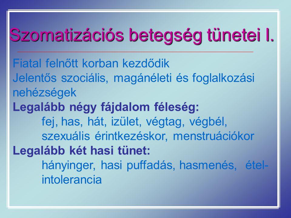 Szomatizációs betegség tünetei I.