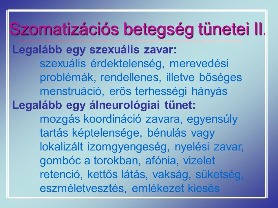 Szomatizációs betegség tünetei II.