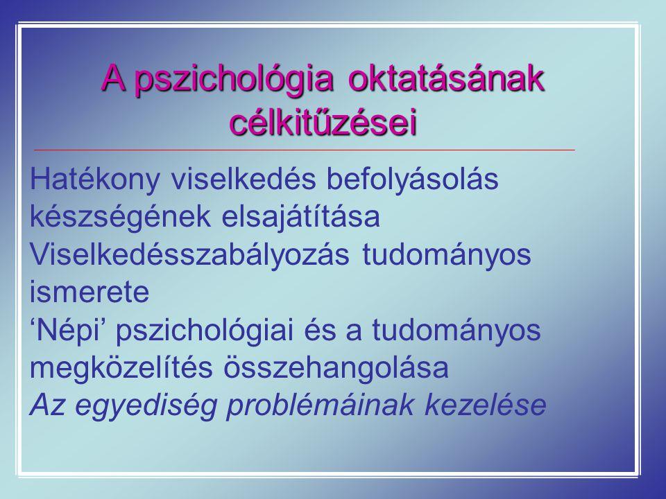 A pszichológia oktatásának célkitűzései