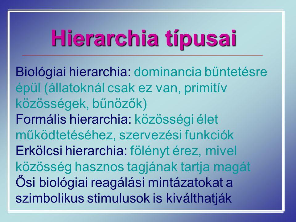 Hierarchia típusai Biológiai hierarchia: dominancia büntetésre épül (állatoknál csak ez van, primitív közösségek, bűnözők)