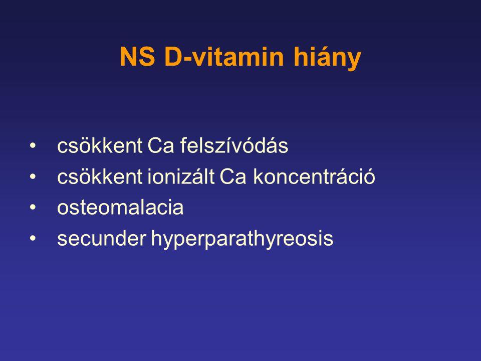 NS D-vitamin hiány csökkent Ca felszívódás