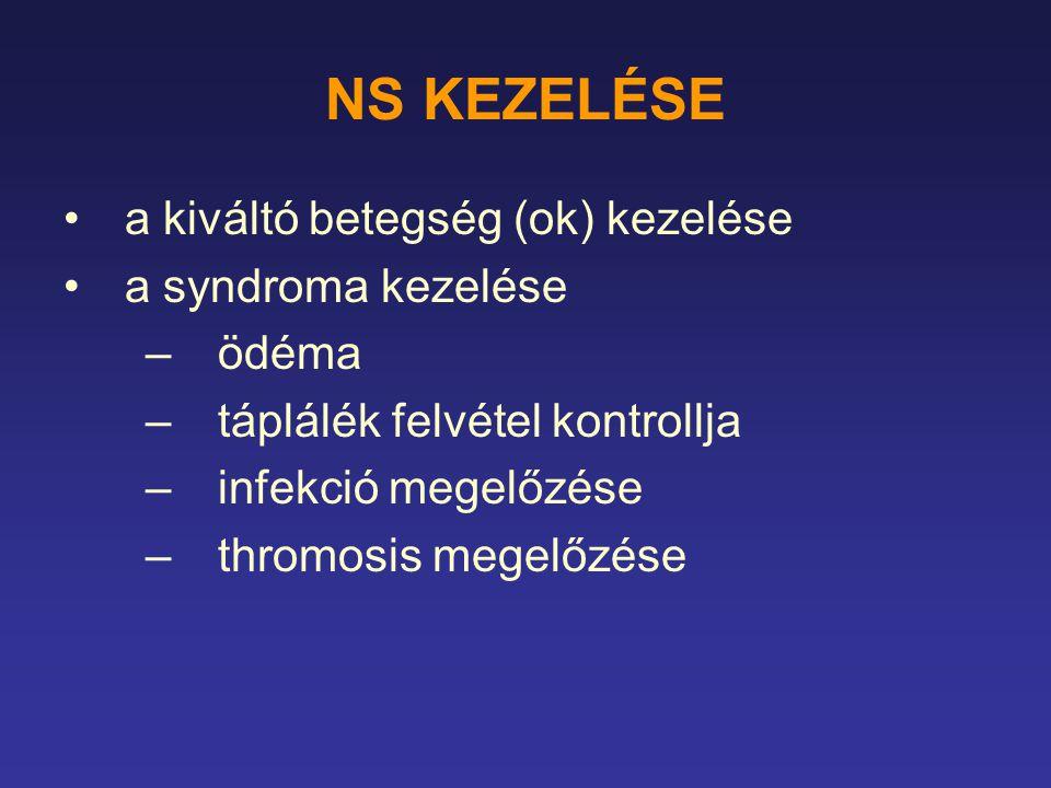 NS KEZELÉSE a kiváltó betegség (ok) kezelése a syndroma kezelése ödéma