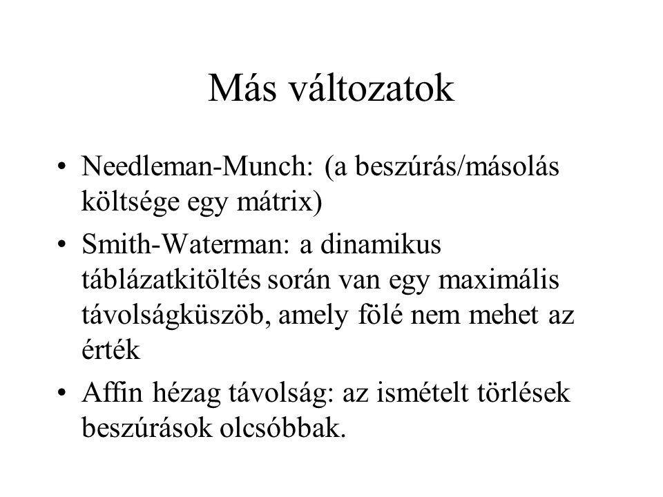 Más változatok Needleman-Munch: (a beszúrás/másolás költsége egy mátrix)