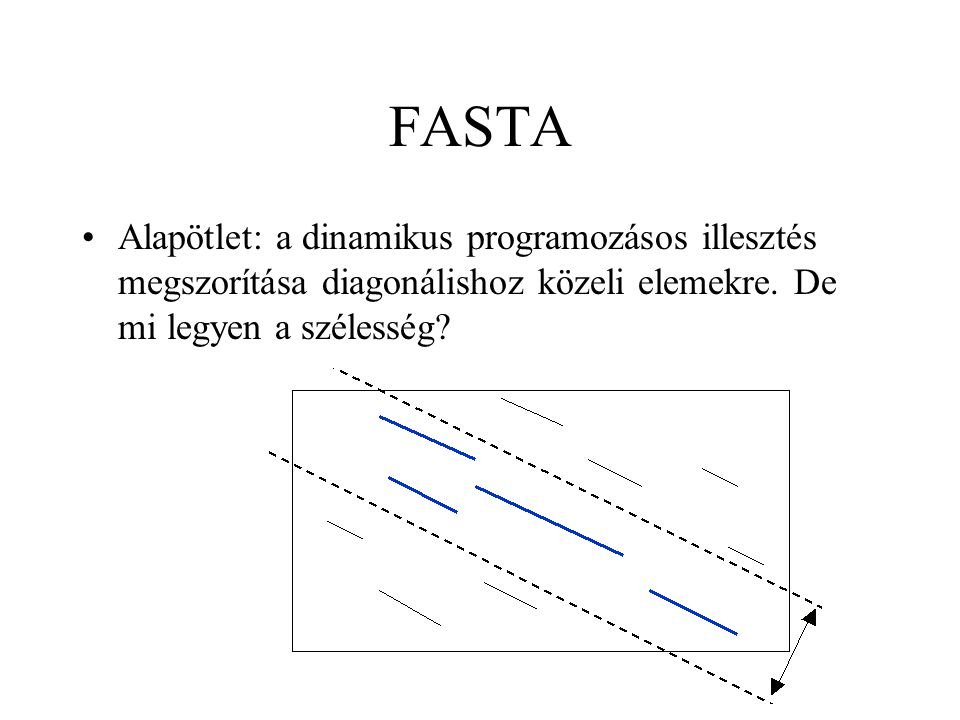 FASTA Alapötlet: a dinamikus programozásos illesztés megszorítása diagonálishoz közeli elemekre.