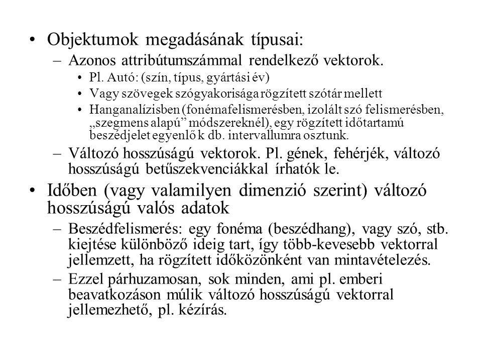 Objektumok megadásának típusai: