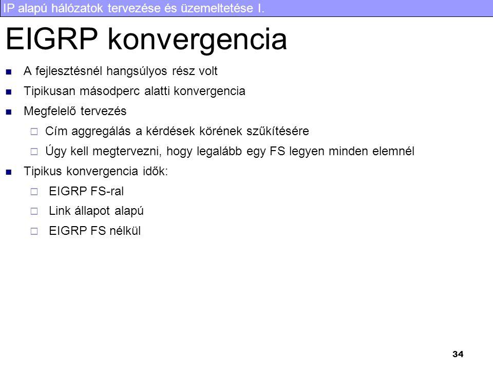 EIGRP konvergencia A fejlesztésnél hangsúlyos rész volt
