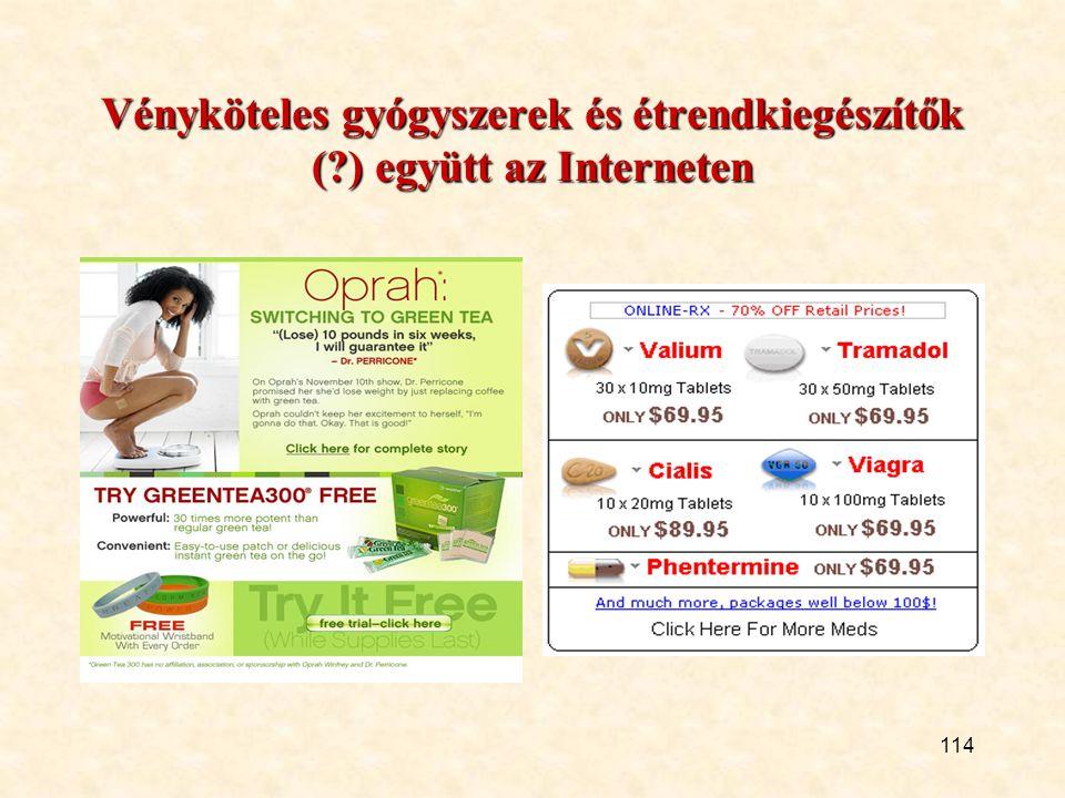Vényköteles gyógyszerek és étrendkiegészítők ( ) együtt az Interneten