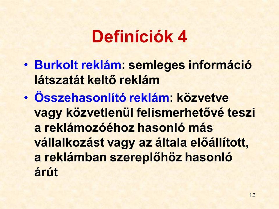 Definíciók 4 Burkolt reklám: semleges információ látszatát keltő reklám.