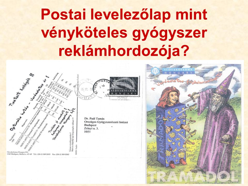 Postai levelezőlap mint vényköteles gyógyszer reklámhordozója