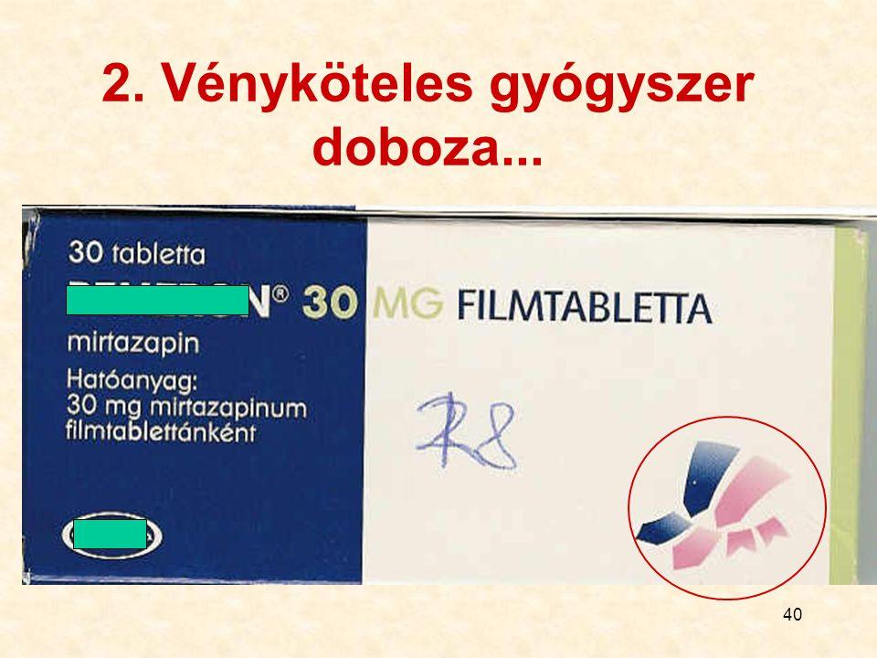 2. Vényköteles gyógyszer doboza...