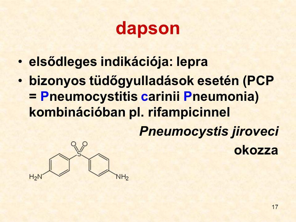 dapson elsődleges indikációja: lepra
