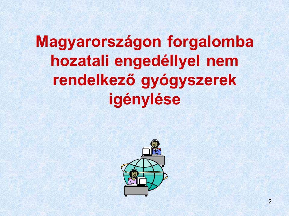 Magyarországon forgalomba hozatali engedéllyel nem rendelkező gyógyszerek igénylése