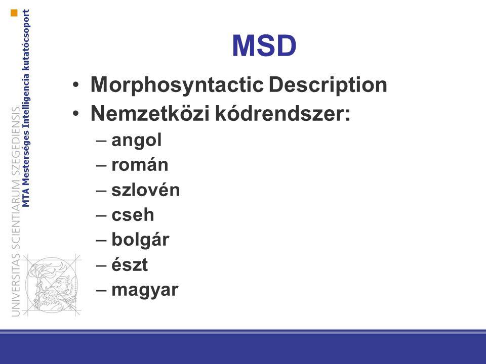 MSD Morphosyntactic Description Nemzetközi kódrendszer: angol román